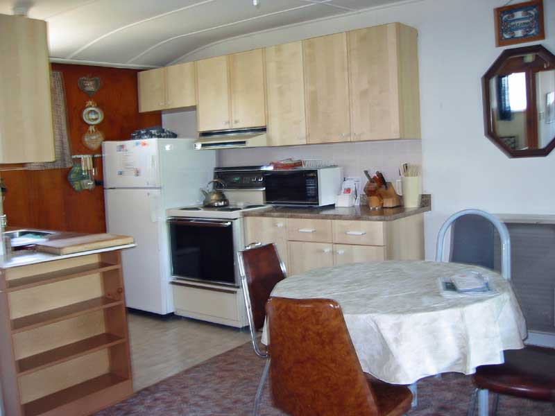 Side view of Dinette & Kitchen at Maple Court Cottages Port Dover Ontario Canada