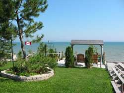 Overlooking Lake Erie from one of our many terraces at Maple Court Cottages Port Dover Ontario Canada