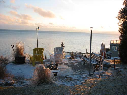 Fall view of Lake Erie at Sunset at Maple Court Cottages Port Dover Ontario Canada