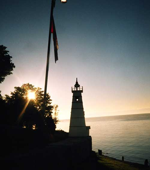 Our lighthouse at sunrise at Maple Court Cottages Port Dover Ontario Canada