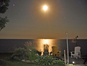 Moonlight over Maple Court Cottages, Lake Erie, July 15