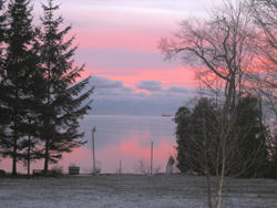 Pink Sunset at Maple Court Cottages Port Dover Ontario Canada